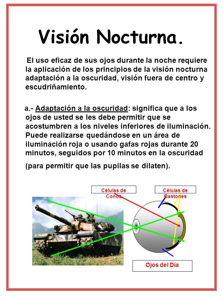 Visión Nocturna. El uso eficaz de sus ojos durante la noche requiere la aplicación de los principios de la visión nocturna adaptación a la oscuridad,
