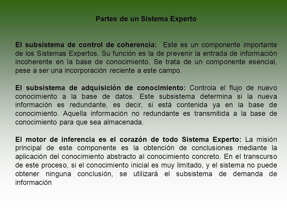 Partes de un Sistema Experto El subsistema de control de coherencia: Este es un componente importante de los Sistemas Expertos. Su función es la de pr