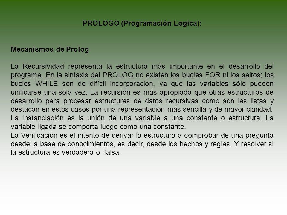 PROLOGO (Programación Logica): Mecanismos de Prolog La Recursividad representa la estructura más importante en el desarrollo del programa. En la sinta