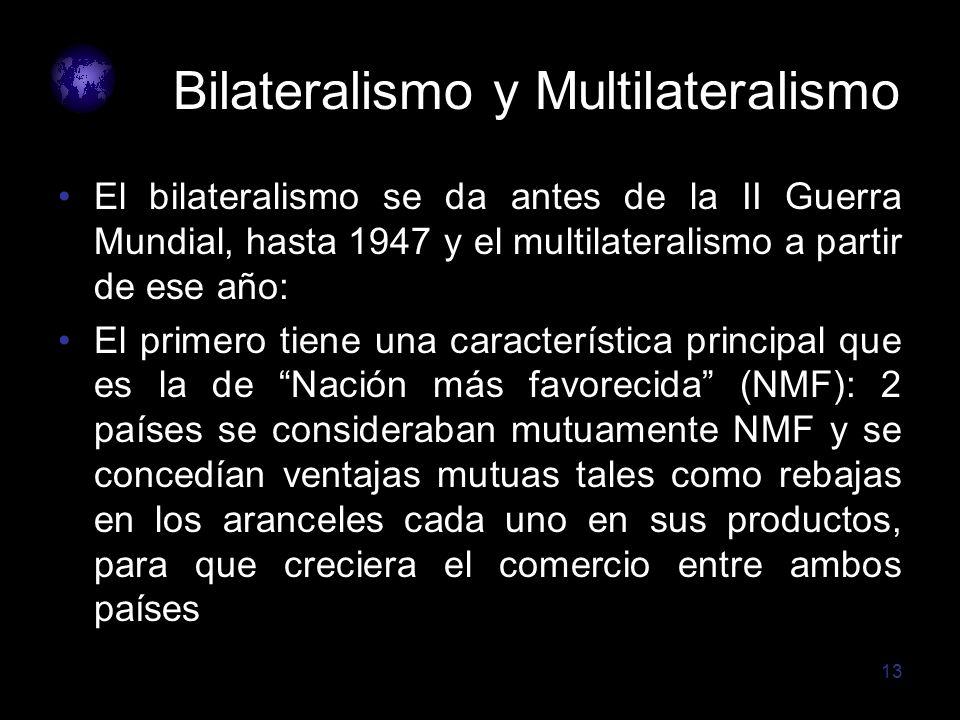 13 Bilateralismo y Multilateralismo El bilateralismo se da antes de la II Guerra Mundial, hasta 1947 y el multilateralismo a partir de ese año: El pri