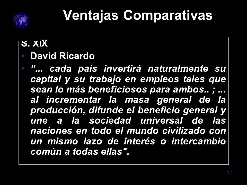 17 Ventajas Comparativas S. XIX David Ricardo... cada país invertirá naturalmente su capital y su trabajo en empleos tales que sean lo más beneficioso