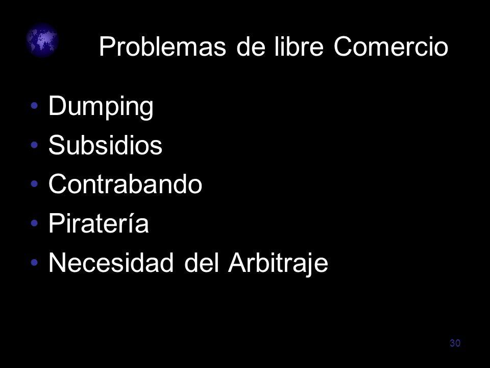 30 Problemas de libre Comercio Dumping Subsidios Contrabando Piratería Necesidad del Arbitraje