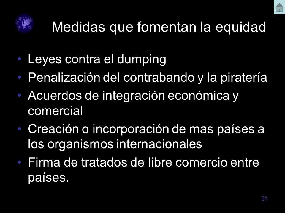 31 Medidas que fomentan la equidad Leyes contra el dumping Penalización del contrabando y la piratería Acuerdos de integración económica y comercial C