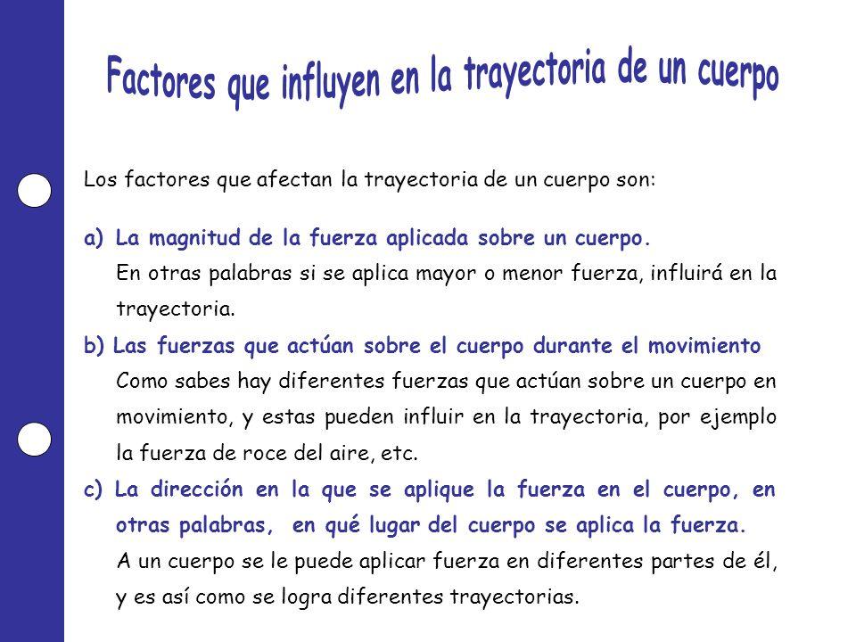Los factores que afectan la trayectoria de un cuerpo son: a)La magnitud de la fuerza aplicada sobre un cuerpo. En otras palabras si se aplica mayor o