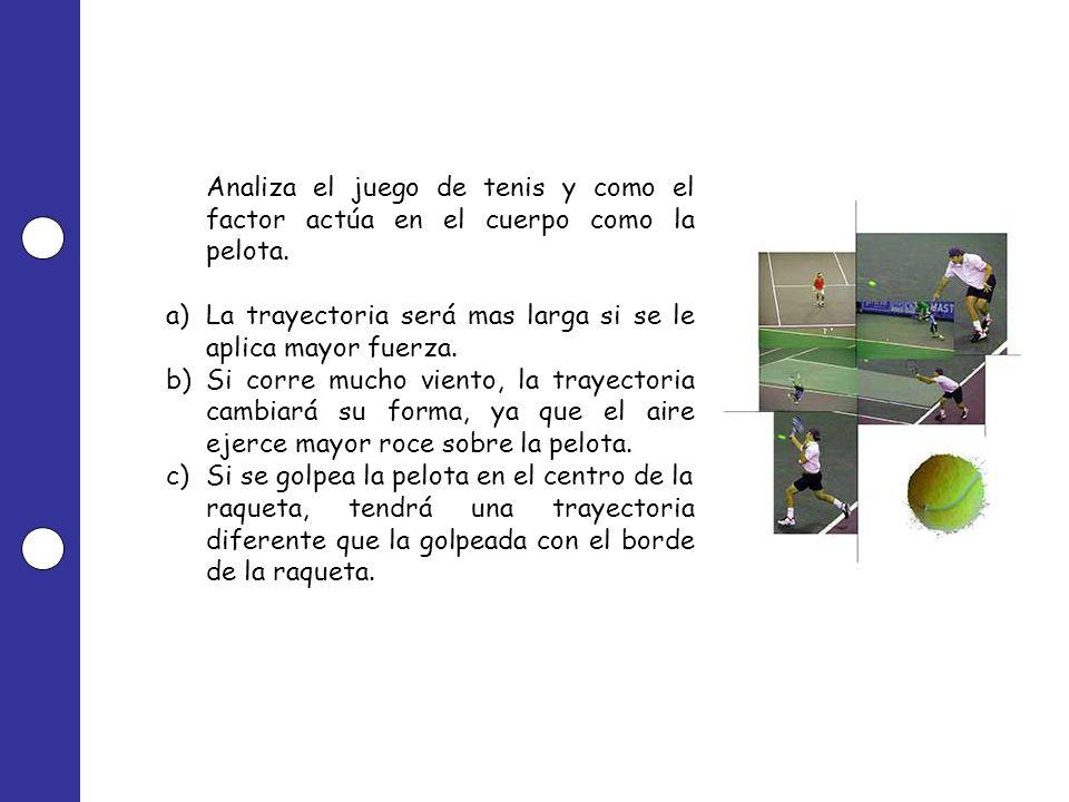 Analiza el juego de tenis y como el factor actúa en el cuerpo como la pelota. a)La trayectoria será mas larga si se le aplica mayor fuerza. b)Si corre