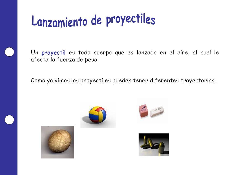 Un proyectil es todo cuerpo que es lanzado en el aire, al cual le afecta la fuerza de peso. Como ya vimos los proyectiles pueden tener diferentes tray