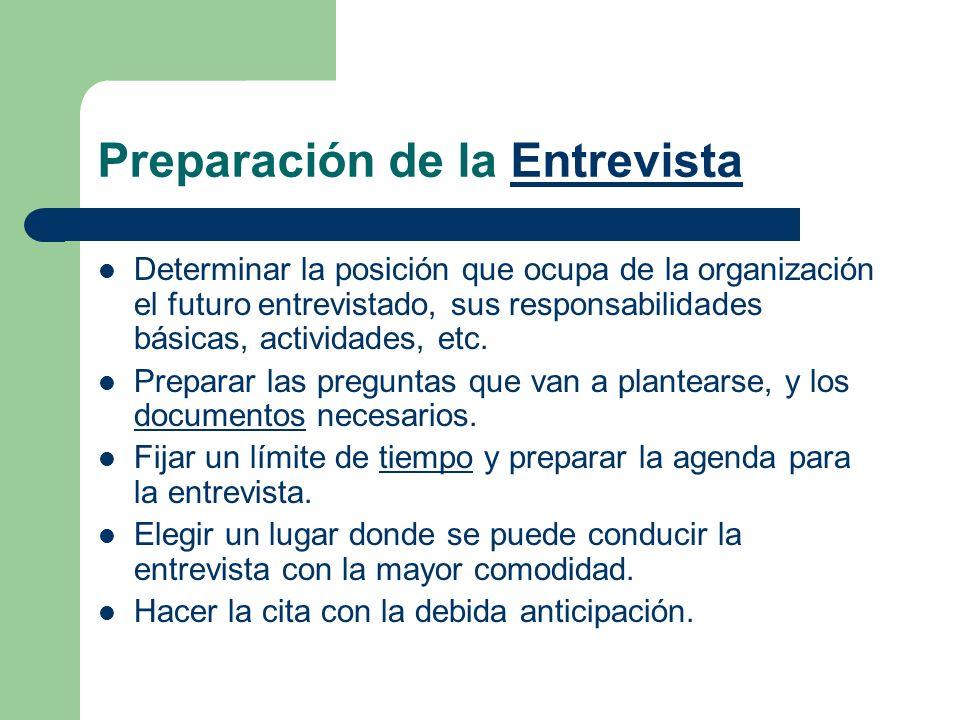 Preparación de la EntrevistaEntrevista Determinar la posición que ocupa de la organización el futuro entrevistado, sus responsabilidades básicas, acti
