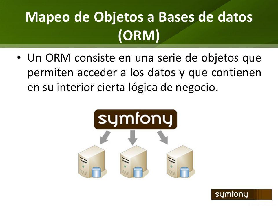 Mapeo de Objetos a Bases de datos (ORM) Un ORM consiste en una serie de objetos que permiten acceder a los datos y que contienen en su interior cierta