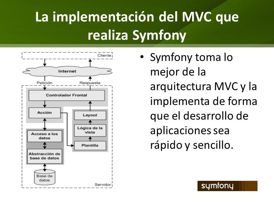 La implementación del MVC que realiza Symfony Symfony toma lo mejor de la arquitectura MVC y la implementa de forma que el desarrollo de aplicaciones