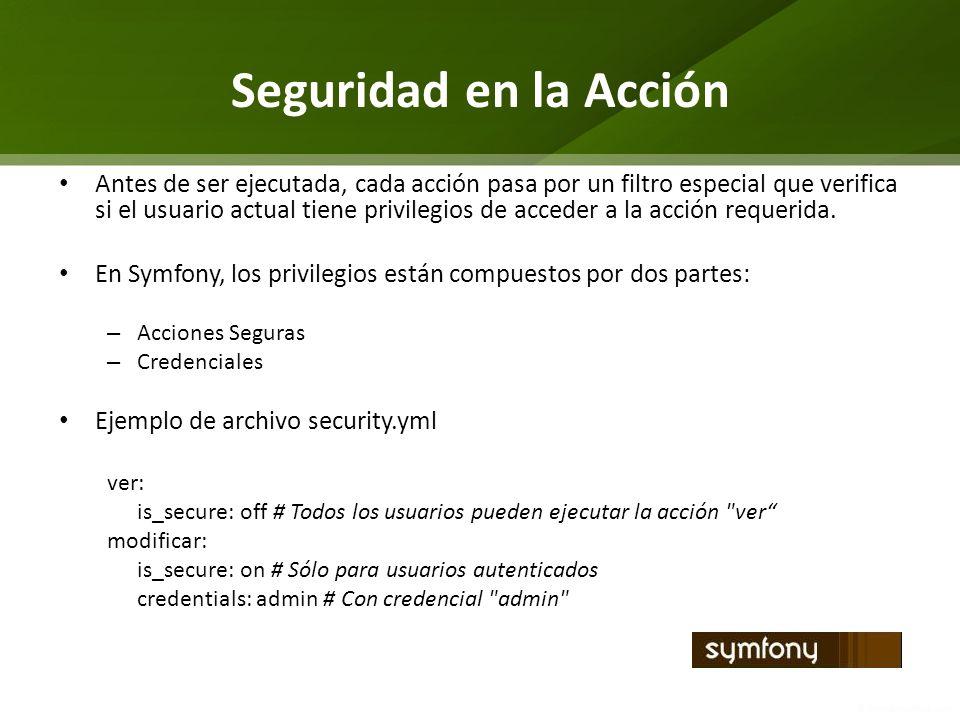Seguridad en la Acción Antes de ser ejecutada, cada acción pasa por un filtro especial que verifica si el usuario actual tiene privilegios de acceder