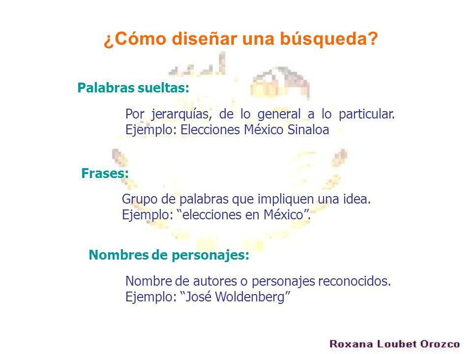 Por jerarquías, de lo general a lo particular. Ejemplo: Elecciones México Sinaloa ¿Cómo diseñar una búsqueda? Palabras sueltas: Frases: Grupo de palab