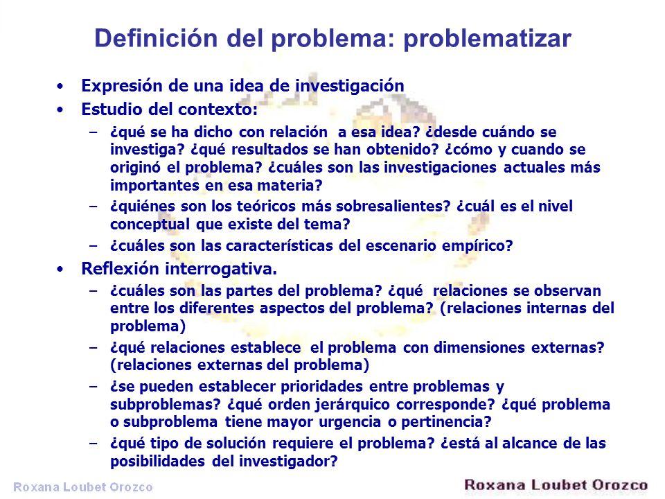 Definición del problema: problematizar Expresión de una idea de investigación Estudio del contexto: –¿qué se ha dicho con relación a esa idea? ¿desde