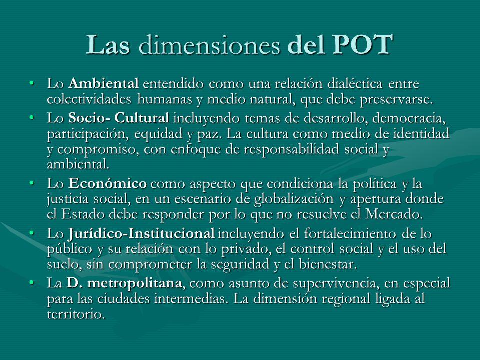 Las dimensiones del POT Lo Ambiental entendido como una relación dialéctica entre colectividades humanas y medio natural, que debe preservarse.Lo Ambi