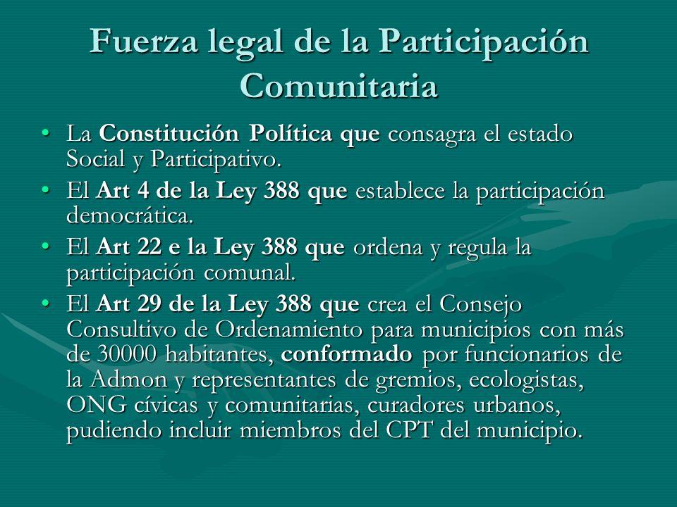 Fuerza legal de la Participación Comunitaria La Constitución Política que consagra el estado Social y Participativo.La Constitución Política que consa