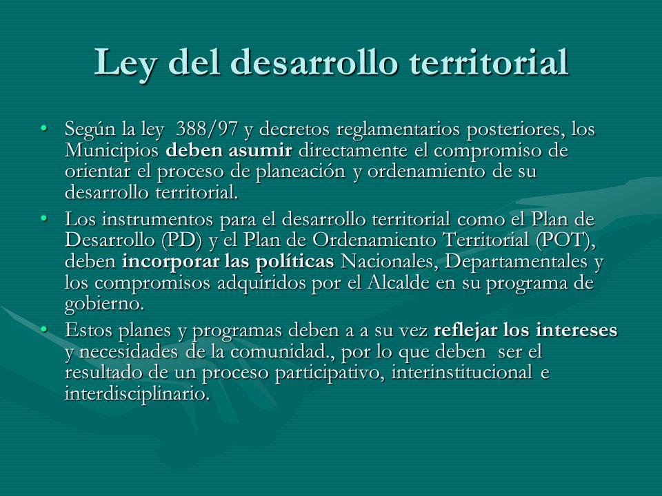 Ley del desarrollo territorial Según la ley 388/97 y decretos reglamentarios posteriores, los Municipios deben asumir directamente el compromiso de or