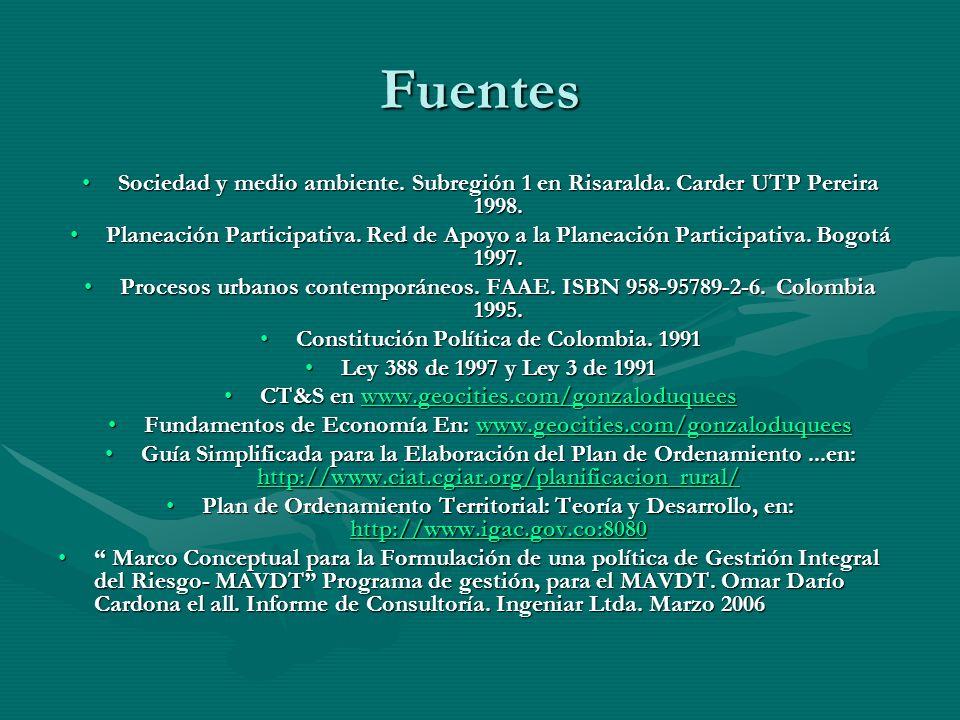 Fuentes Sociedad y medio ambiente. Subregión 1 en Risaralda. Carder UTP Pereira 1998.Sociedad y medio ambiente. Subregión 1 en Risaralda. Carder UTP P