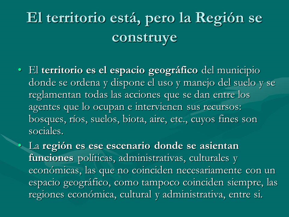 El territorio está, pero la Región se construye El territorio es el espacio geográfico del municipio donde se ordena y dispone el uso y manejo del sue