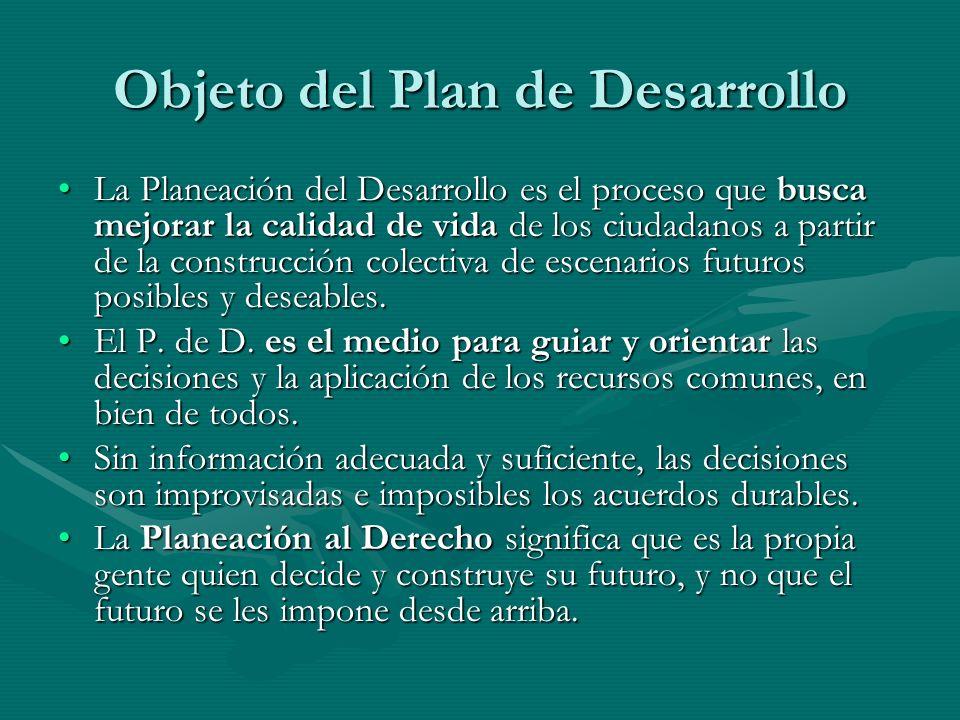 Objeto del Plan de Desarrollo La Planeación del Desarrollo es el proceso que busca mejorar la calidad de vida de los ciudadanos a partir de la constru