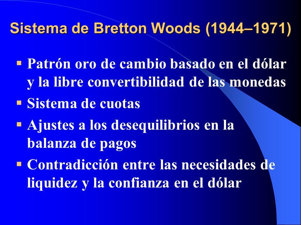 Sistema de Bretton Woods (1944–1971) Patrón oro de cambio basado en el dólar y la libre convertibilidad de las monedas Sistema de cuotas Ajustes a los
