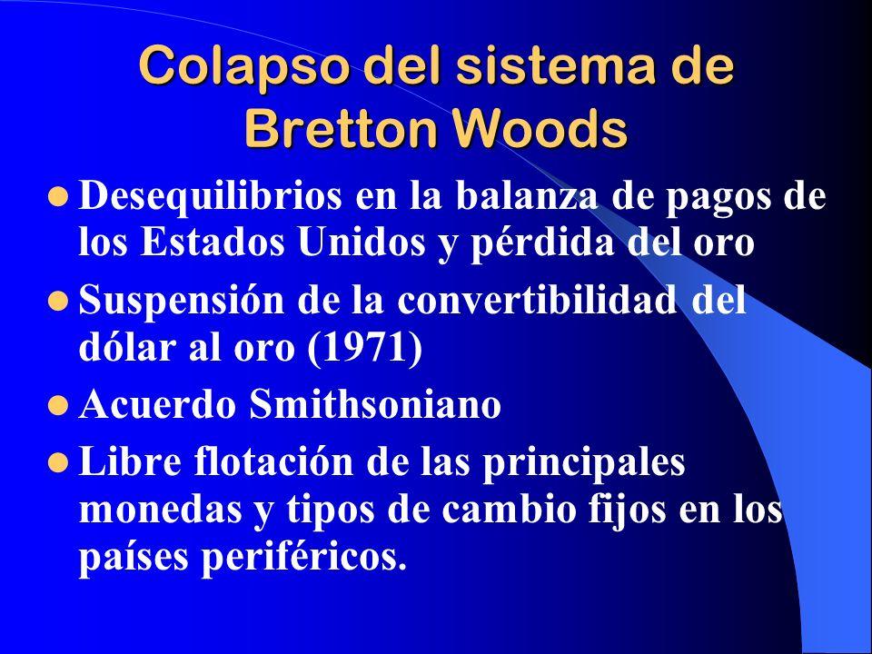 Colapso del sistema de Bretton Woods Desequilibrios en la balanza de pagos de los Estados Unidos y pérdida del oro Suspensión de la convertibilidad de