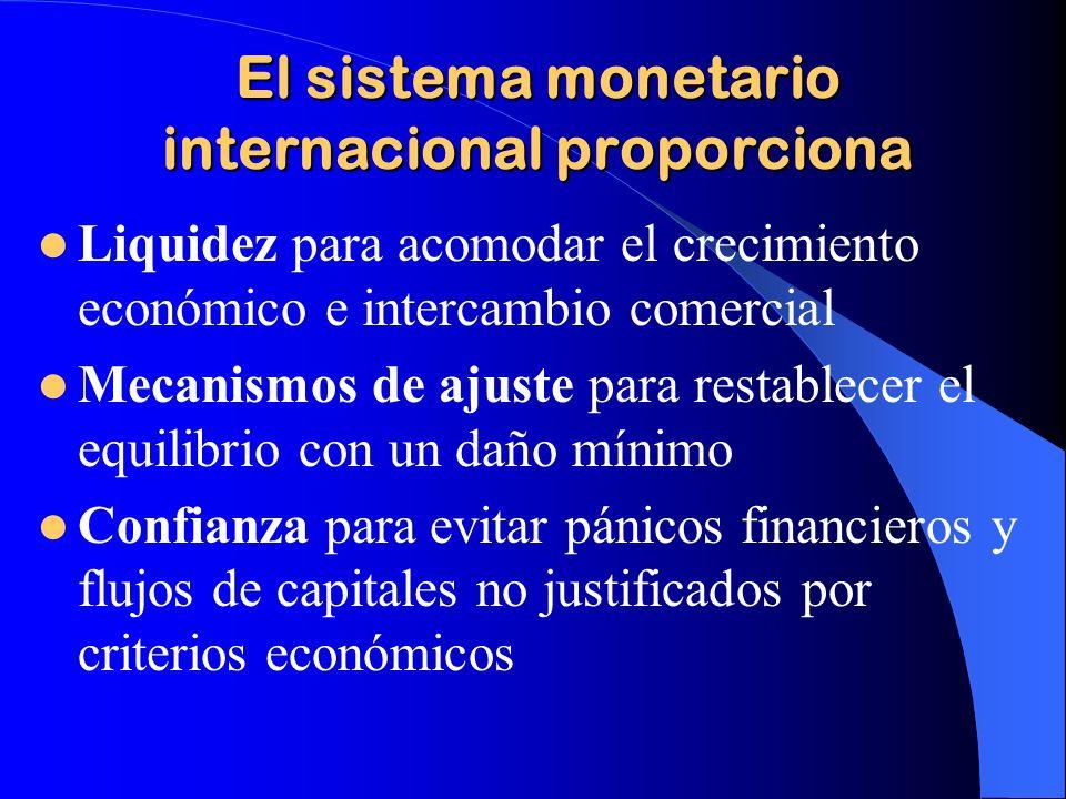 El sistema monetario internacional proporciona Liquidez para acomodar el crecimiento económico e intercambio comercial Mecanismos de ajuste para resta