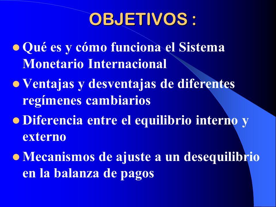 OBJETIVOS : Qué es y cómo funciona el Sistema Monetario Internacional Ventajas y desventajas de diferentes regímenes cambiarios Diferencia entre el eq