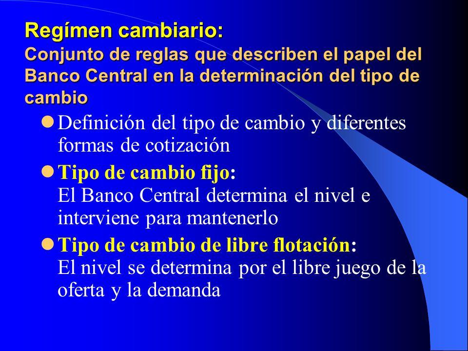 Regímen cambiario: Conjunto de reglas que describen el papel del Banco Central en la determinación del tipo de cambio Definición del tipo de cambio y