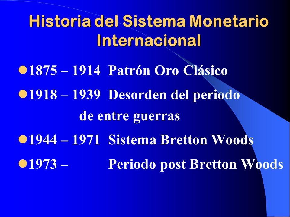 Historia del Sistema Monetario Internacional 1875 – 1914 Patrón Oro Clásico 1918 – 1939 Desorden del periodo de entre guerras 1944 – 1971 Sistema Bret