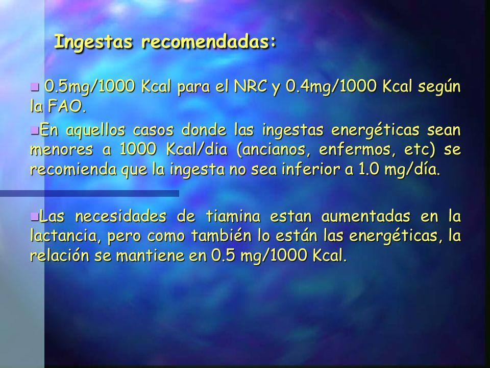 Ingestas recomendadas: 0.5mg/1000 Kcal para el NRC y 0.4mg/1000 Kcal según la FAO. 0.5mg/1000 Kcal para el NRC y 0.4mg/1000 Kcal según la FAO. En aque