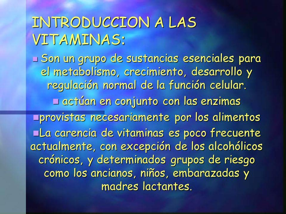 Las vitaminas se clasifican en dos grupos: Vitaminas hidrosolubles Vitaminas hidrosolubles Vitaminas liposolubles (serán tratadas mas adelante) Vitaminas liposolubles (serán tratadas mas adelante) Las vitaminas hidrosolubles incluyen la vitamina C y el complejo vitamínico B Las vitaminas hidrosolubles incluyen la vitamina C y el complejo vitamínico B