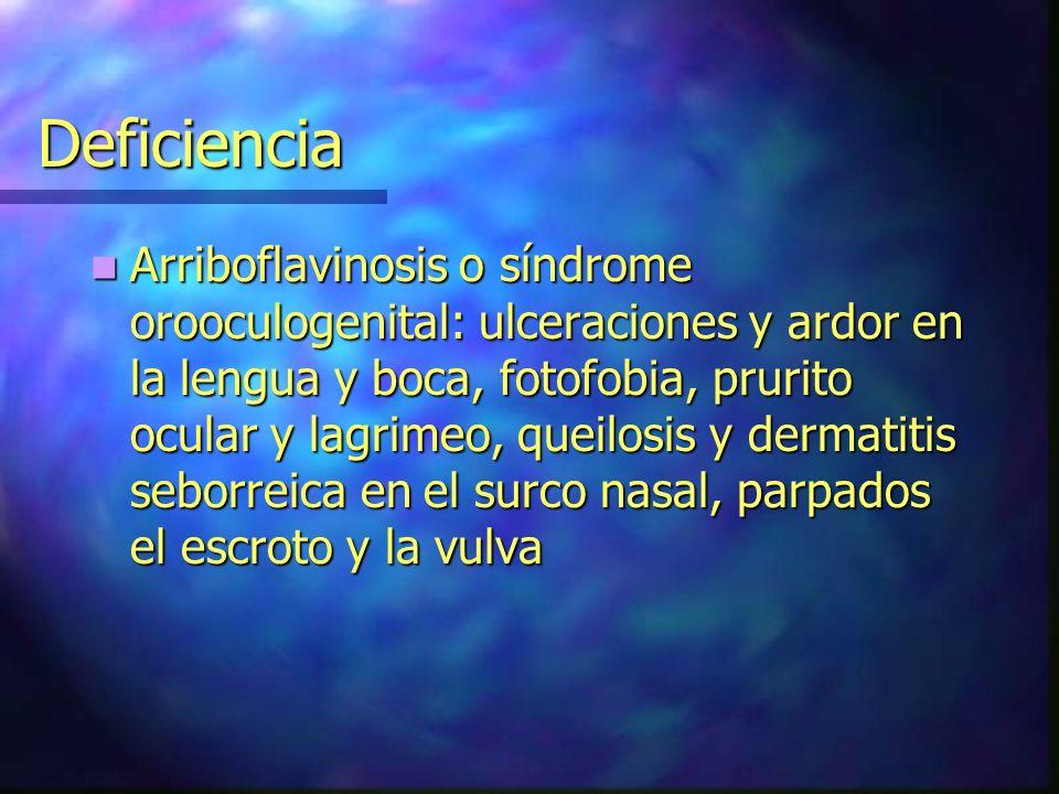 Deficiencia Arriboflavinosis o síndrome orooculogenital: ulceraciones y ardor en la lengua y boca, fotofobia, prurito ocular y lagrimeo, queilosis y d