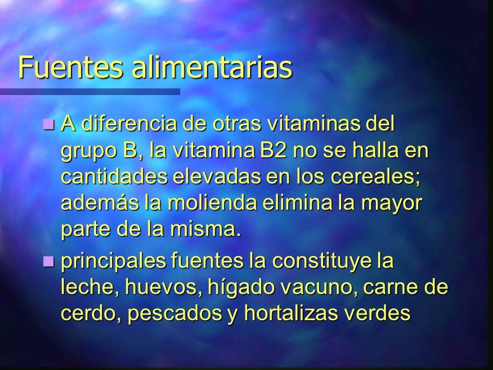 Fuentes alimentarias A diferencia de otras vitaminas del grupo B, la vitamina B2 no se halla en cantidades elevadas en los cereales; además la moliend
