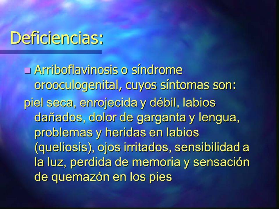 Deficiencias: Arriboflavinosis o síndrome orooculogenital, cuyos síntomas son: Arriboflavinosis o síndrome orooculogenital, cuyos síntomas son: piel s