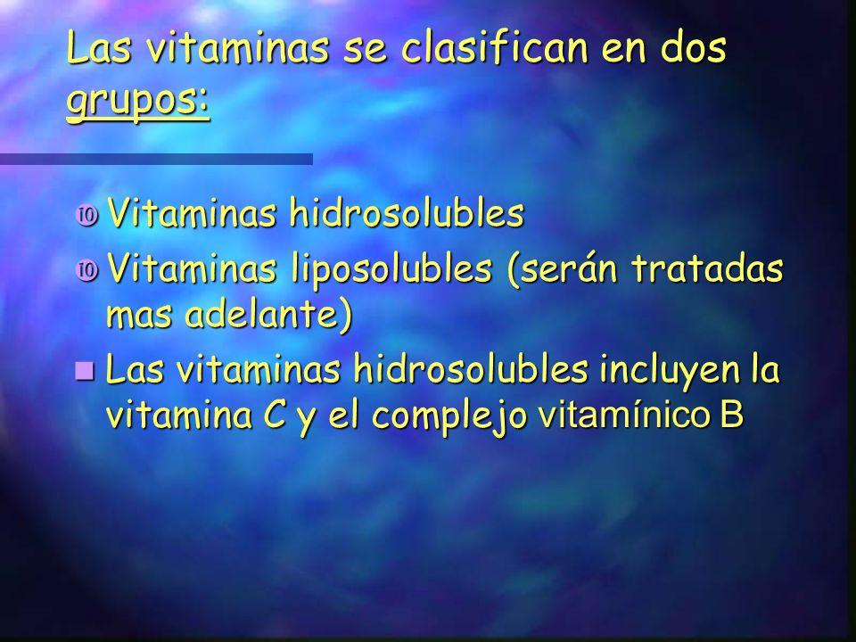 Las vitaminas se clasifican en dos grupos: Vitaminas hidrosolubles Vitaminas hidrosolubles Vitaminas liposolubles (serán tratadas mas adelante) Vitami