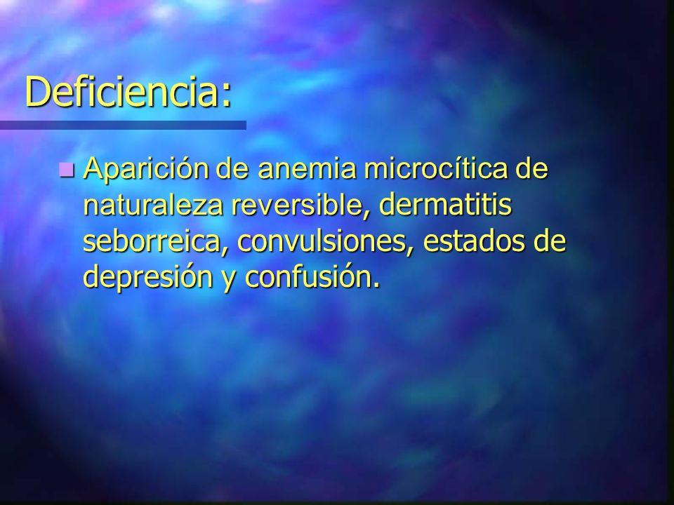 Deficiencia: Aparición de anemia microcítica de naturaleza reversible, dermatitis seborreica, convulsiones, estados de depresión y confusión. Aparició