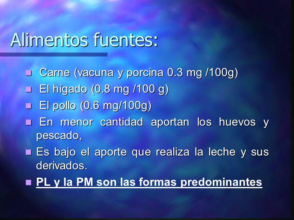 Alimentos fuentes: Carne (vacuna y porcina 0.3 mg /100g) Carne (vacuna y porcina 0.3 mg /100g) El hígado (0.8 mg /100 g) El hígado (0.8 mg /100 g) El