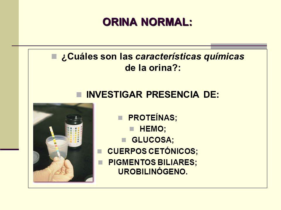 ORINA NORMAL: ¿Cuáles son las características químicas de la orina?: INVESTIGAR PRESENCIA DE: PROTEÍNAS; HEMO; GLUCOSA; CUERPOS CETÓNICOS; PIGMENTOS B