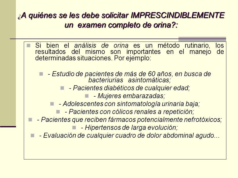 SEDIMENTO DE ORINA: leucocitoseritrocitos