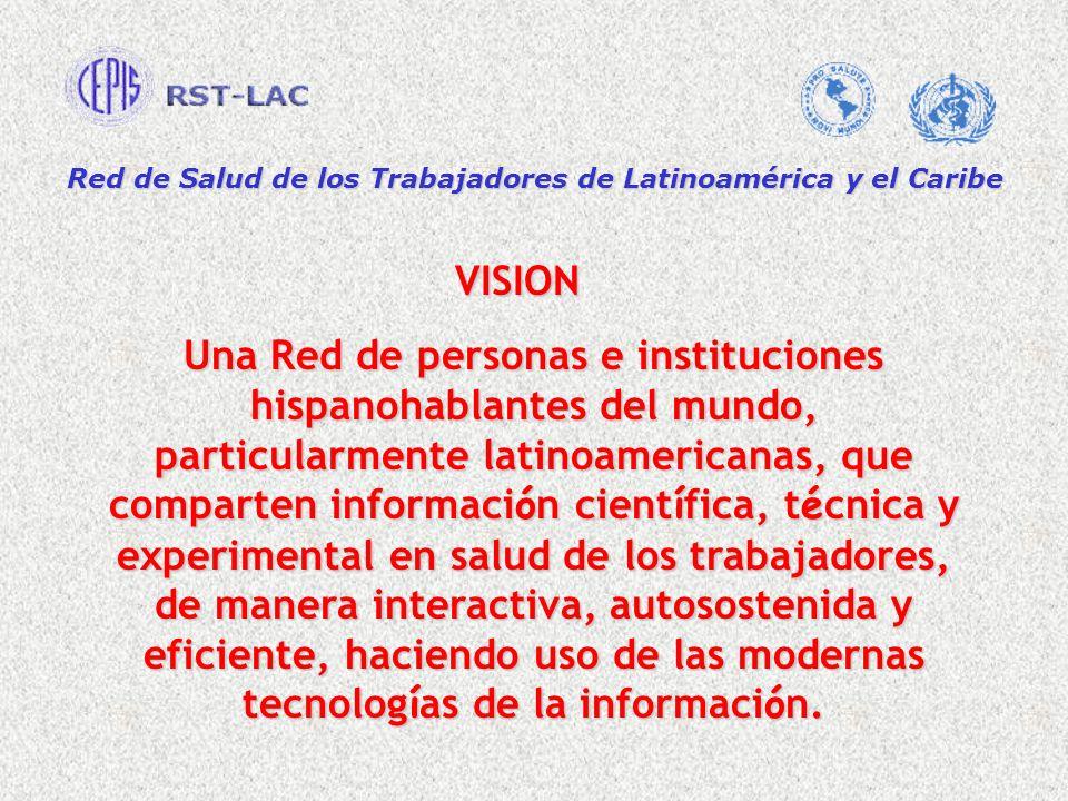 Red de Salud de los Trabajadores de Latinoamérica y el Caribe VISION VISION Una Red de personas e instituciones hispanohablantes del mundo, particular
