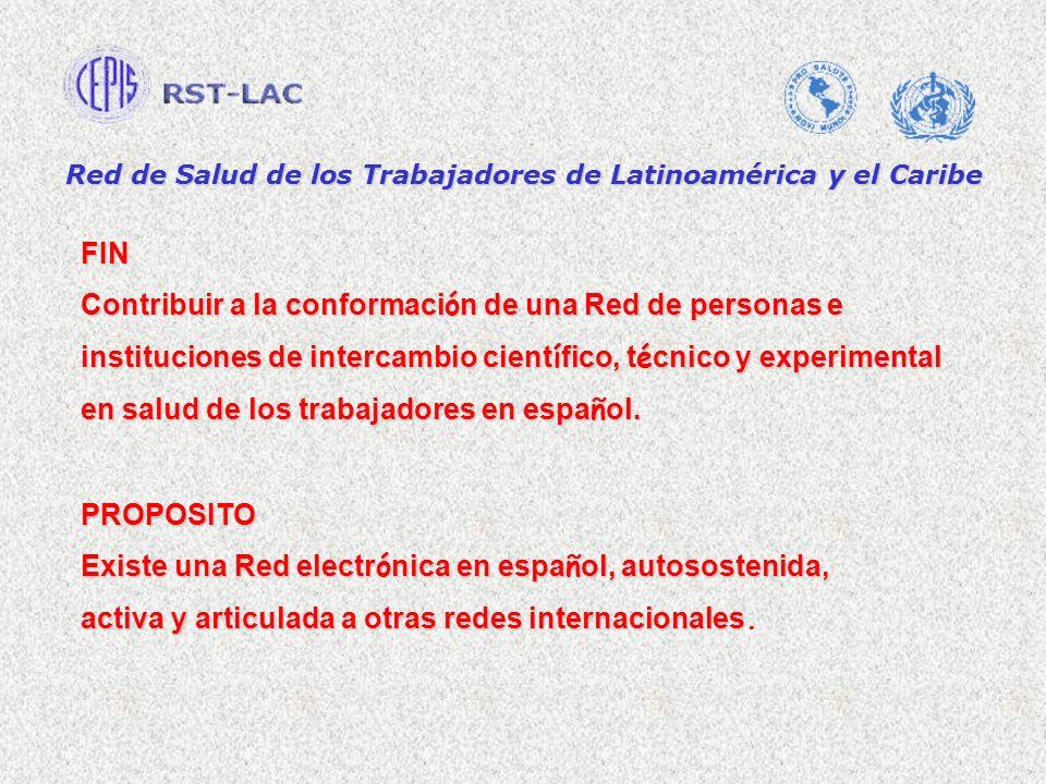 Red de Salud de los Trabajadores de Latinoamérica y el Caribe FIN Contribuir a la conformaci ó n de una Red de personas e instituciones de intercambio