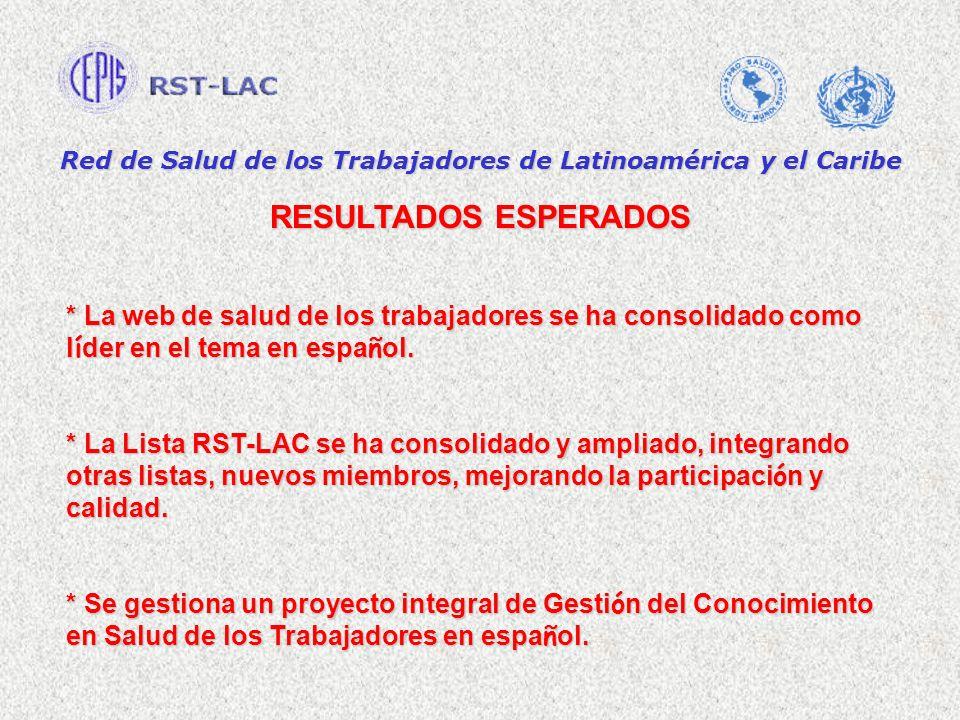 Red de Salud de los Trabajadores de Latinoamérica y el Caribe RESULTADOS ESPERADOS * La web de salud de los trabajadores se ha consolidado como l í der en el tema en espa ñ ol.