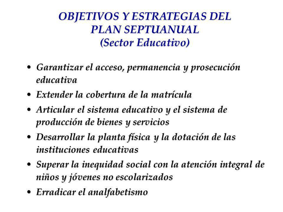 Garantizar el acceso, permanencia y prosecución educativaGarantizar el acceso, permanencia y prosecución educativa Extender la cobertura de la matrícu