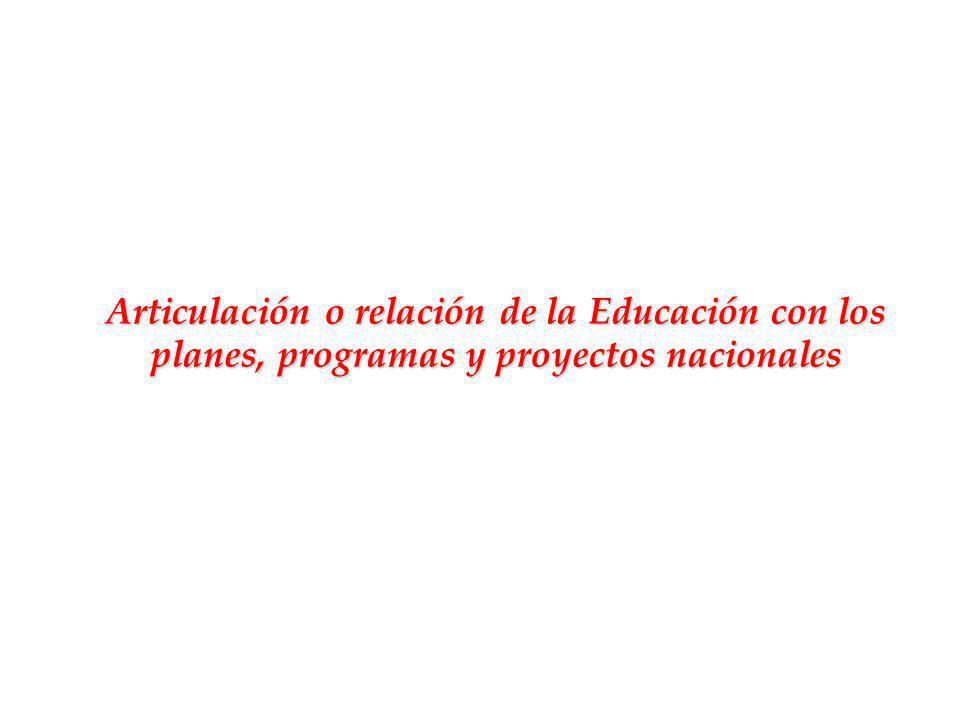 Articulación o relación de la Educación con los planes, programas y proyectos nacionales