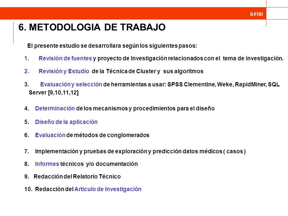 II-FISI 6. METODOLOGIA DE TRABAJO El presente estudio se desarrollara según los siguientes pasos: 1.Revisión de fuentes y proyecto de Investigación re