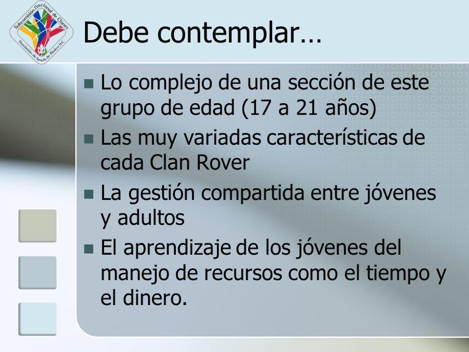 Debe contemplar… Lo complejo de una sección de este grupo de edad (17 a 21 años) Las muy variadas características de cada Clan Rover La gestión compar