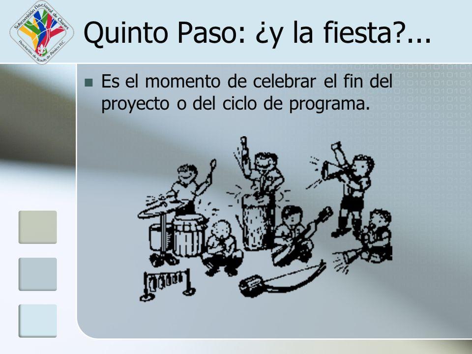 Quinto Paso: ¿y la fiesta?... Es el momento de celebrar el fin del proyecto o del ciclo de programa.