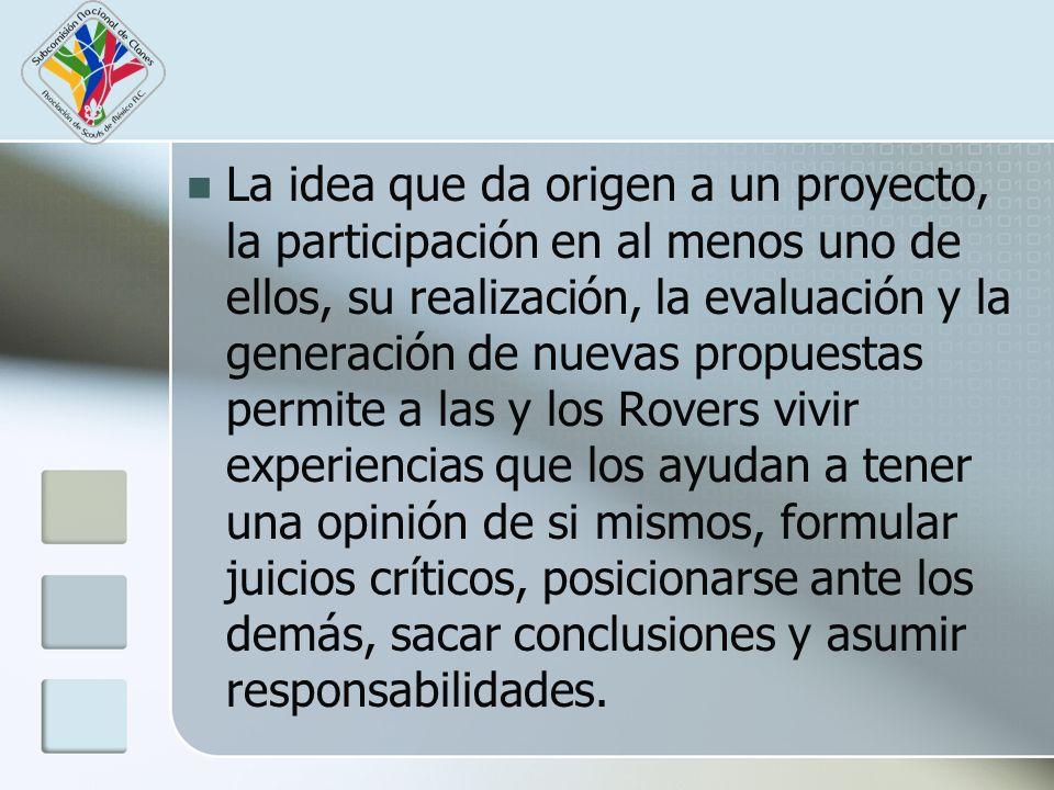 La idea que da origen a un proyecto, la participación en al menos uno de ellos, su realización, la evaluación y la generación de nuevas propuestas per