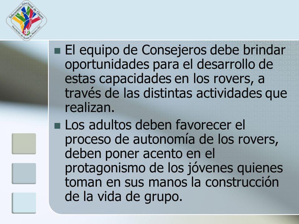 El equipo de Consejeros debe brindar oportunidades para el desarrollo de estas capacidades en los rovers, a través de las distintas actividades que re