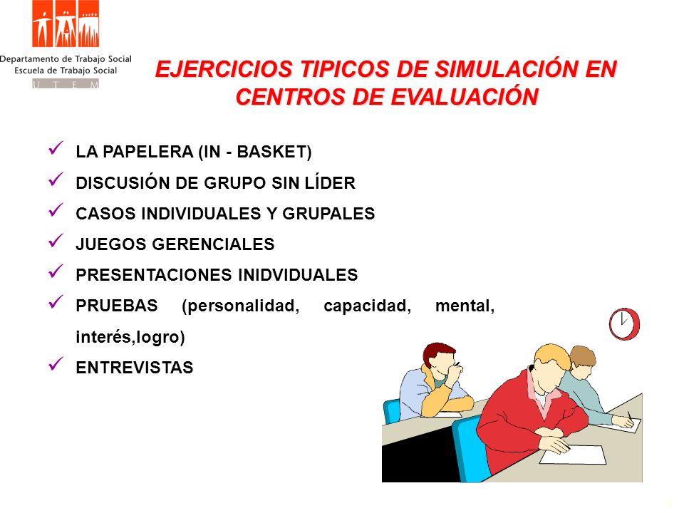 EJERCICIOS TIPICOS DE SIMULACIÓN EN CENTROS DE EVALUACIÓN EJERCICIOS TIPICOS DE SIMULACIÓN EN CENTROS DE EVALUACIÓN 1 LA PAPELERA (IN - BASKET) DISCUS
