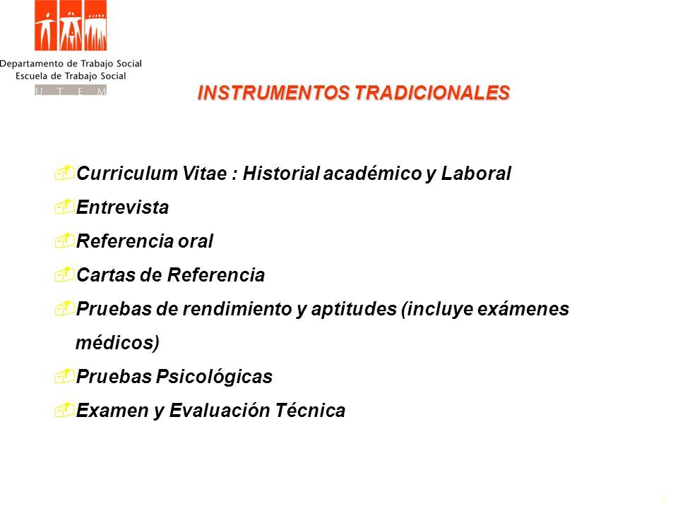 INSTRUMENTOS TRADICIONALES 1 Curriculum Vitae : Historial académico y Laboral Entrevista Referencia oral Cartas de Referencia Pruebas de rendimiento y